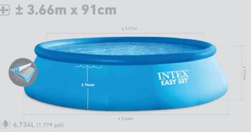 Dieses Bild zeigt die typischen Maßes eines Pools mit aufgeblasenem Rand