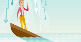 eine Frau steht in einem sinkendem Boot, da dieses ein Leck hat