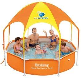 Produktbild des Pools von Bestway mit einem orangen Pavillon als Dach